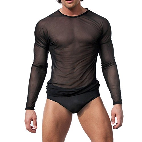 Slender Man Bodysuit (Your Gallery Men's Sexy Underwear T-shirt Long Sleeve Mesh Top Undershirt Nightwear Medium Black)