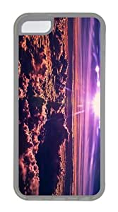 Cheap price case purple clouds sunset TPU Transparent Case for iphone 5C