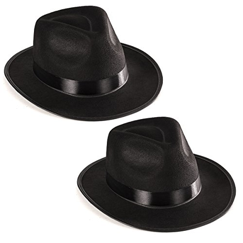 Funny Party Hats Black Fedora Gangster Hat Costume Accessory - Pack of 2