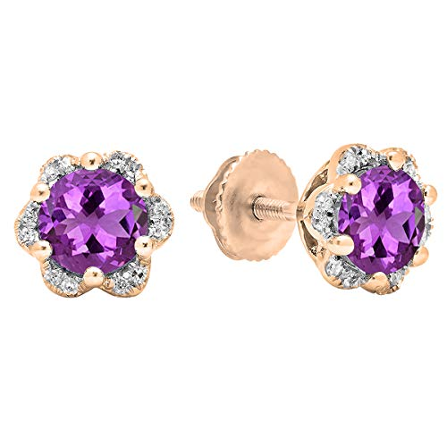 Dazzlingrock Collection 14K 6 MM Each Round Amethyst & White Diamond Ladies Flower Cluster Stud Earrings, Rose ()
