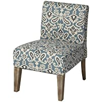 Andover Mills Spencer Slipper Chair in Blue With Kiln-Dried Hardwood Frame And High-Density Upholstery-Grade Foam