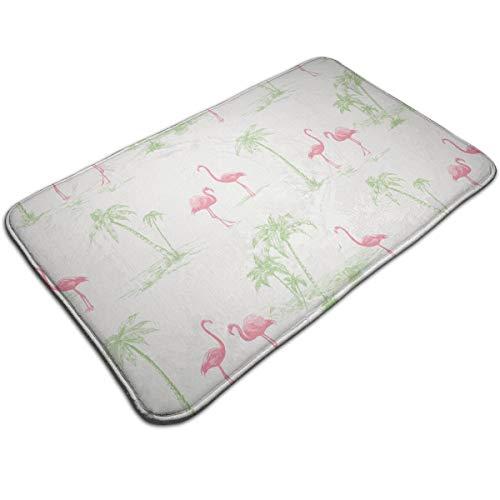 Capisinz Brewster Sarasota Pink Flamingos Print Hard Floor Use Carpet Polyester Living Room Bedroom Kitchen Office Protective Mat Rug Floor Mat-White