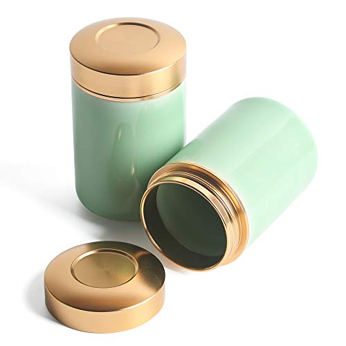 (Porcelain Tea Tins Canister set with Airtight Lids Home Kitchen Canisters for Tea Coffee Sugar Storage Loose Leaf Tea Tin Containers storage (Cyan 1, 2PC/5OZ))