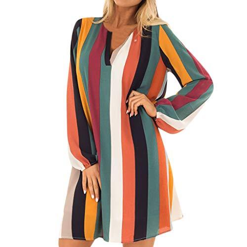 (iYBUIA Ladies V-Neck Split Striped Maxi Boho Long Puff Dress Sleeve Camo Party Mini Dress)