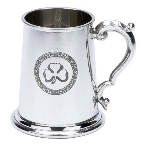 Irish Shamrock Clover Fine English Pewter Tankard Beer Mug Made in England