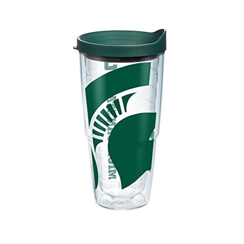 Tervis 1093916 Michigan State Spartans Mascot Colossal Tumbler With Wrap And Hunter Green Lid 24Oz  Clear