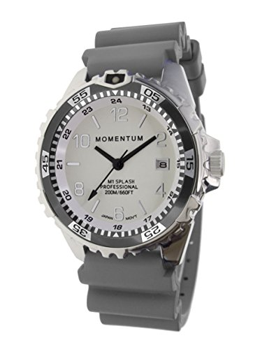 Women's Quartz Watch | M1 Splash by Momentum| Stainless Steel Watches for Women | Dive Watch with Japanese Movement & Analog Display | Water Resistant ladies watch with Date –Lume/Grey Rubber