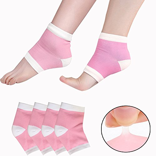 (EXPER Moisturizing Gel Heel Socks for Women Men's Dry Cracked Rough Feet Skin Day Night Free Size Open Toe Heels sleeve Pack of 2 Pairs (Pink))