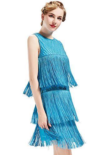 (BABEYOND 1920s Flapper Dress Long Fringe Gatsby Dress Roaring 20s Sequins Beaded Dress Vintage Art Deco Dress (Blue,)