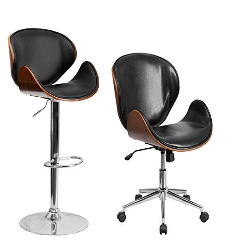 - Flash Furniture Walnut Bentwood Adjustable Height Barstool and Mid-Back Walnut Wood Swivel Conference Chair with Curved Back and Black Vinyl Seat