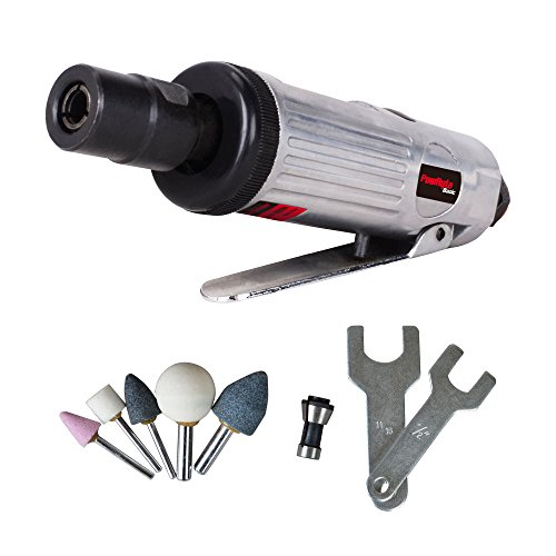 Mini Angle Grinder Kit (PowRyte Basic 1/4-Inch Compact Straight Air Die Grinder Kit)