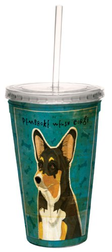 (Tree-Free Greetings cc34043 Tri-Color Pembroke Welsh Corgi by John W. Golden Artful Traveler Double-Walled Cool Cup with Reusable Straw, 16-Ounce)