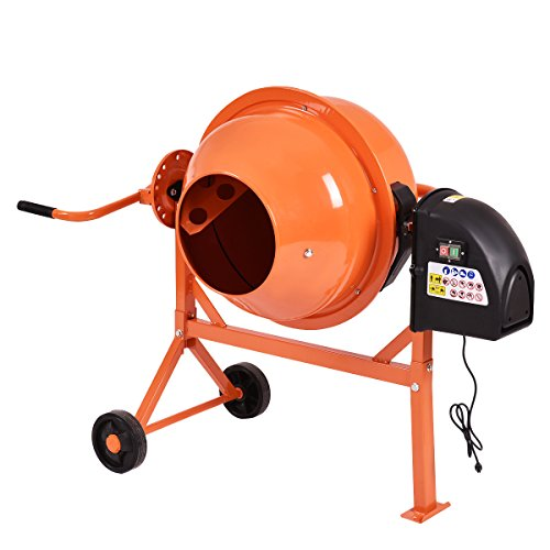 Sale!! Goplus Electric Cement Mixer, 2.2 Cubic Ft, Concrete Stucco Mortar Mixer