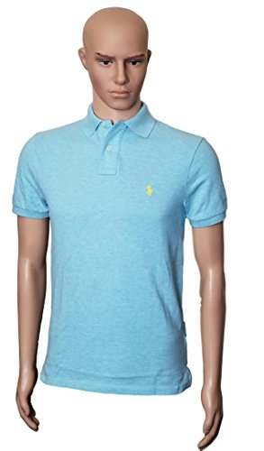 Polo Ralph Lauren Men Custom Fit Mesh Pony Logo Shirt (S, Turquoisehth) (Custom Fit Polo)