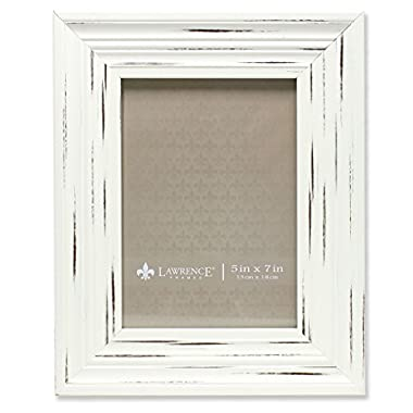 Lawrence Frames Weathered Richmond Picture Frame, 5 by 7-Inch, Ivory