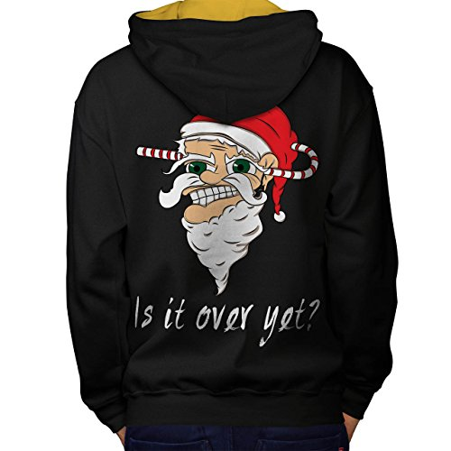 Over yet Santa Christmas Men M Contrast Hoodie Back | Wellcoda