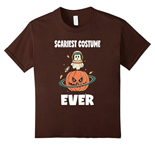 Kids Scariest Costume Ever Pumpkin Halloween Ghost Space T-Shirt 8 Brown (Scariest Girl Costumes)