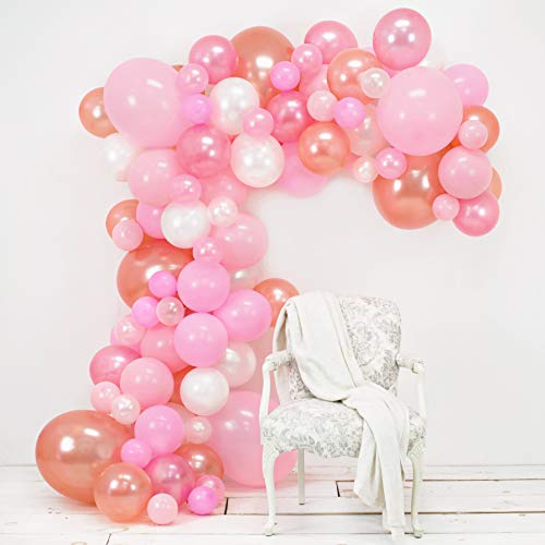 Junibel Balloon Arch & Garland Kit | Pink, Blush, Rose Gold & White Sm - Xlrge balloons | Glue Dots | 17' Decorating Strip | Wedding, Baby Shower, Graduation, Anniversary Bachelorette Party Decoration]()