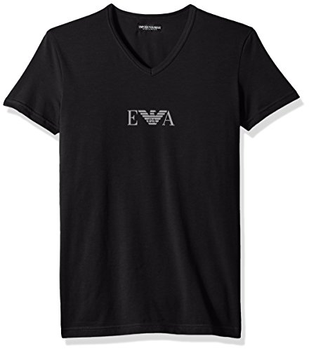 Emporio Armani Men's Stretch Cotton Multipack Vneck T-Shirt, Black, L
