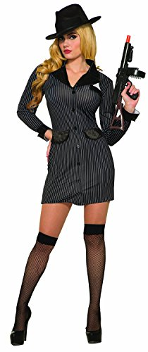 Adult Womens Roaring 20s Sexy Gangster Girl Mob Boss Pinstripe Halloween Costume -