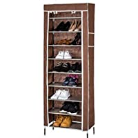 10 Tiers 27 Pairs Shoe with Dustproof Cover Closet Shoe Storage Cabinet Organizer Brown