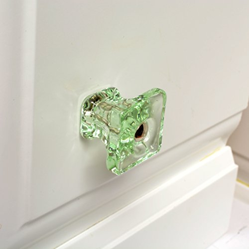 Green Glass Knobs, Cabinet Handles or Drawer Pulls Vintage T83F 6-Pack Green Glass Square Knobs with Polished Nickel Hardware. Romantic Decor & More