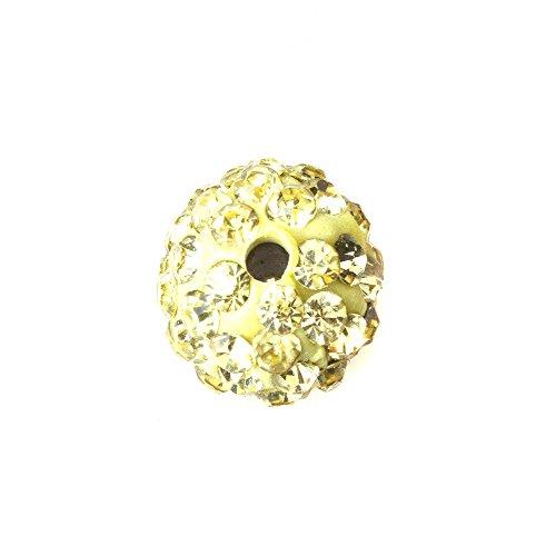 Light Yellow Rhinestones - Samonica Disco Balls Polymer Clay Beads 10mm Pave Czech Crystal Rhinestones Shamballa Beads Premium Quality Spacer Beads for Jewelry Making (20pcs, Light Yellow)