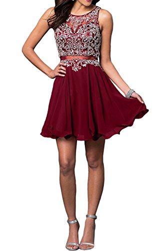 Festlichkleider Partykleider Cocktailkleider Mini Burgundy Kurz Charmant Damen Rot Kleider Abendkleider Jugendweihe gq8x6wxXt