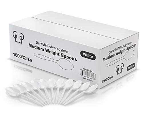 Eco Friendly Plastic Table Spoons, Medium Weight 1000/Case, White, Disposable.