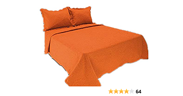 Amazon Com All For You 3pc Reversible Quilt Set Bedspread And Coverlet Orange Color Orange Full Queen Home Kitchen