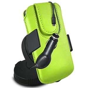 ONX3 Acer Liquid Z3 Leather Slip protectora magnética de la PU de cordón en la bolsa con el caso de Quick Release, 360 que gira la horquilla del parabrisas del coche y 12v Micro USB cargador de coche (verde)