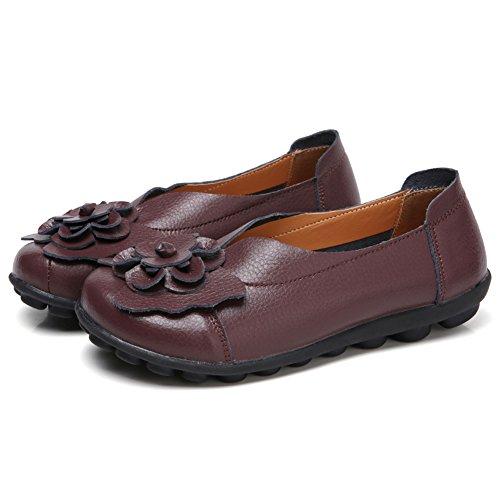 Cuir Mocassins Rond Chaussures Café Bout Conduite Femmes Plates ons Marche Scieu Doux Slip Mocassins En ZfXxq