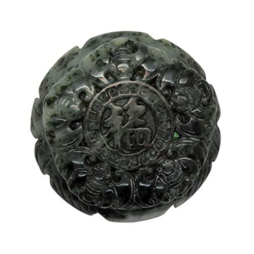 Natural Jade Stone Chinese Ancient Round Belt Buckle Decor With Lucky Fortune Carving an384