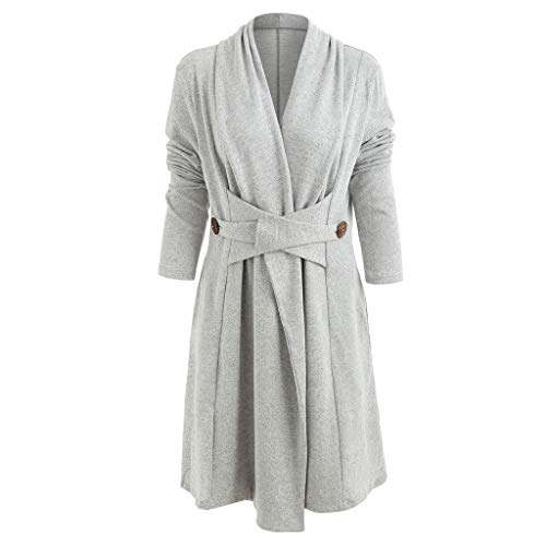 NREALY Cardigan Womens Fashion Open Front Button Long Duster Cardigan Imitation Cashmere Coat(XL, Gray)