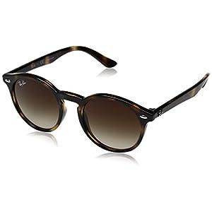 Ray-Ban Kids' Injected Unisex Round Sunglasses, Shiny Havana, 44 mm