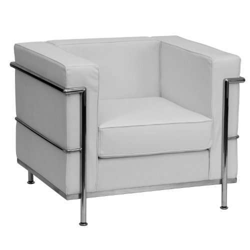 ULES Regal Series Contemporary Melrose White Leather Chair with Encasing Frame (Series White Leather)