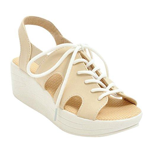 Mee Shoes Women's Comfortable Lace up Wedge Heel Sandals Beige