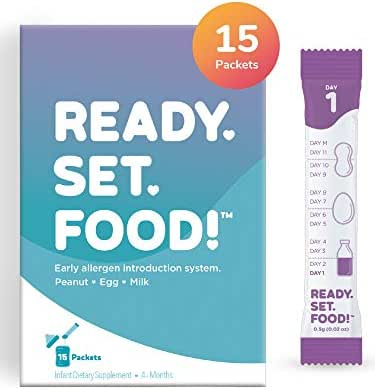 Early Allergen Introduction by Ready, Set, Food!   Add to Baby Food, Milk, or Formula   Reduce Baby's Risk of Developing a Food Allergy   Made with Organic Peanut, Egg, Milk   Easy to Use Stage 1