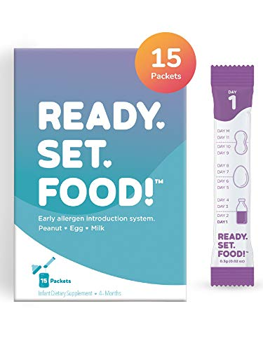 Early Allergen Introduction by Ready, Set, Food! | Add to Baby Food, Milk, or Formula | Reduce Baby's Risk of Developing a Food Allergy | Made with Organic Peanut, Egg, Milk | Easy to Use Stage 1