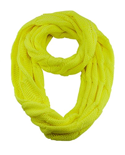 NYFASHION101 Soft Winter Warm Chunky Knit Cowl Infinity Loop Scarf, Neon Yellow