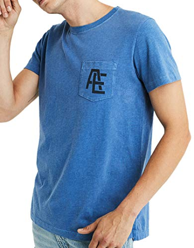 American Eagle Outfitters Mens Short Sleeve AE Graphic Pocket Tee T-Shirt Heather Blue (Large) from American Eagle