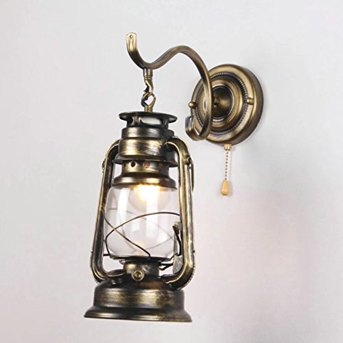Fine Art Lamps Metal Sconce - Retro Pull Chain Switch Lantern Wall Lamp Kerosene Wall Sconces,Metal Transparent Glass Lampshade