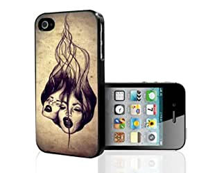 Tan and Black Face Graphic Hard Snap on Phone Case (iPhone 4/4s)