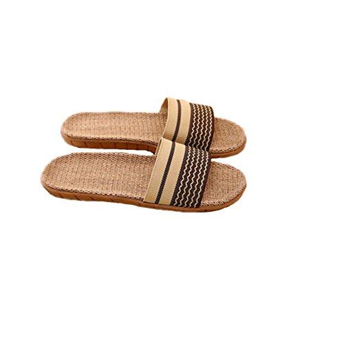 Pantofola Di Lino Tellw Home Coppia Pantofole Interne Pavimento In Legno Casa Antiscivolo Fondo Spesso Pantofole Cachi Estate Cachi