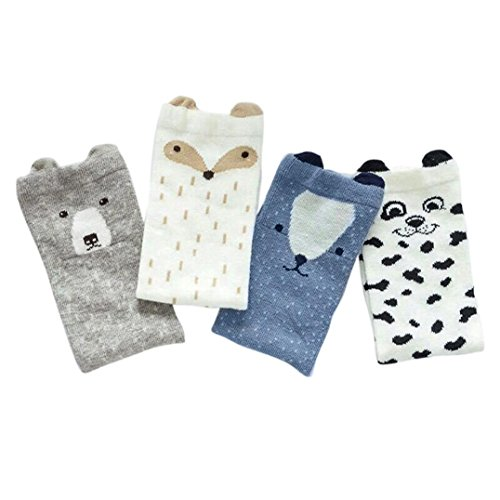 Vovotrade 4 Pairs Toddlers Kids Unisex-baby Socks Cute Pattern Knee High Socks Cotton (S)