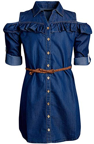 dollhouse Girls Belted Denim High-Low Chambray Dress (4, Dark Cold Shoulder)'