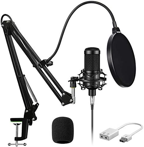 Condenser Microphone-Aokeo Streaming Podcast COMPUTER Microphone,Studio Cardioid Mic Kit with USB Sound Card Boom Arm Shock Mount Pop Filter, for Skype YouBulb Karaoke Gaming Recording
