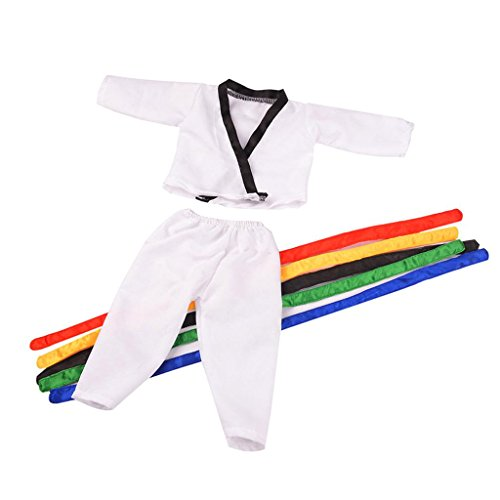 Prettyia Taekwondo Martial Art Costume Set Outfit Clothes for 18inch American Doll Doll