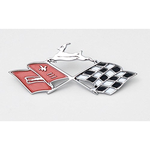 (Eckler's Premier Quality Products 40-137222 Full Size Chevy Console Shift Plate Emblem, Crossed-Flags, Impala)