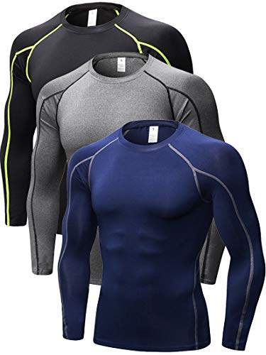 Mens Performance Long Sleeve Compression Shirts Cool Dry Wicking Baselayer, 352# 3 Pack: Black(green Stripe)/Grey/Navy Blue, Fit like US XX-Large (Mens Long Sleeve Compression Shirt)